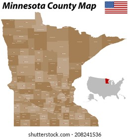 A large and detailed map of the State of Minnesota with all counties and main cities.
