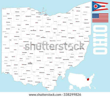 Large Detailed Map State Ohio All Stock Vector Royalty Free
