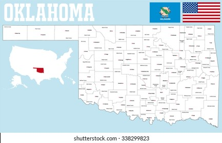 A large and detailed map of the State of Oklahoma with all counties and   county seats.