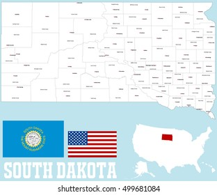 A large and detailed map of the State of South Dakota with all counties and county seat.