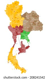 A large and detailed map of Thailand with all counties, regions and main cities.