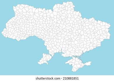 A large and detailed map of the Ukraine with all regions, provinces and communes.