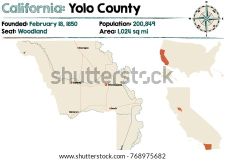 Large Detailed Map Yolo County California Stock Vector Royalty Free