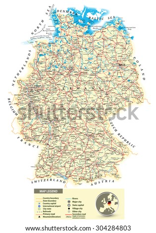 Large Map Of Germany.Large Detailed Road Map Germany All Stock Vector Royalty Free