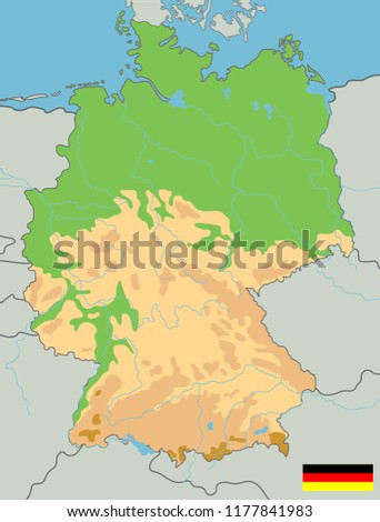 Large Detailed Topographic Map Germany Contours Stock Vector ...