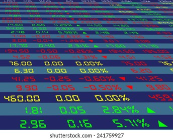 a large display of daily stock market price and quotation viewing from the bottom, vector illustration