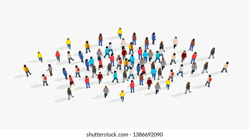 Large and diverse group of people gathered together in the shape of circle. Top view. Vector illustration