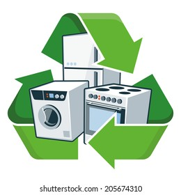 Large electronic home appliances with recycling symbol. Isolated vector illustration. Waste Electrical and Electronic Equipment - WEEE concept.