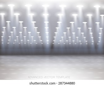 Large empty hall with lots of spotlights. Easy to put images behind or in front  of spotlights. Advanced vector template