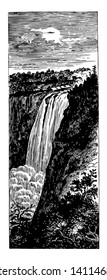It is large fall in montmorency river. These are present at the boundary of beauport.It is 80m high which is larger then niagra falls vintage line drawing.