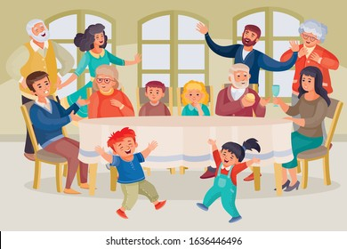 Family Gathering Around Table Stock Illustrations Images Vectors Shutterstock