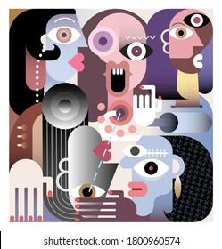 Large Family modern art vector illustration.