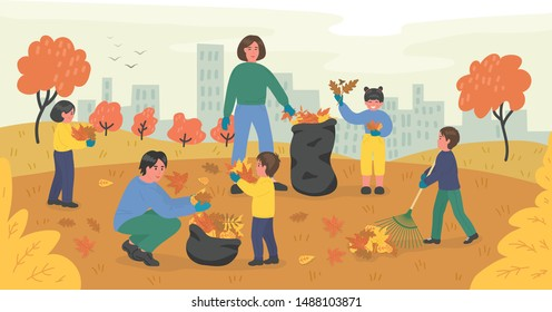 Large family of volunteers cleaning up autumn leaves in the city park. Young man, woman and children clean-up falling foliage in the garden. Vector illustration.