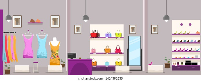 Large Female Clothes Shopping Mall or boutique shop interior. Vector illustration.