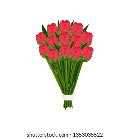 Large festive gift bouquet of pink scarlet tulips in mate paper on empty background