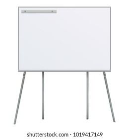 Large Flip chart blank on tripod over white background. Office Whiteboard For Business Training in office. Isolated Illustration EPS 10. Board Banner Stand 3d rendering for promotional presentation