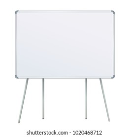 Large Flip chart blank on tripod over white background. Whiteboard For Business Training in office. Isolated Illustration EPS 10 Board Banner Stand 3d rendering for promotional presentation