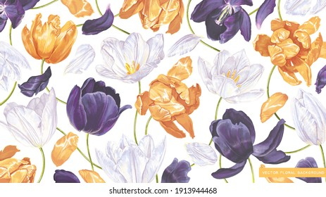 Large floral background with spring tulips, yellow, white and dark purple flowers in wallpaper for computer desktop, tablet, mobile phone, social media covers. Realistic highly detailed vector plants