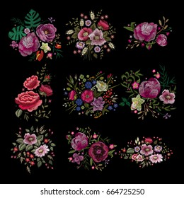 Large floral collection. Set Peony. Traditional folk stylish stylish floral embroidery on the black background. Sketch for printing on clothing, fabric, masks, accessories and design. Trend vector