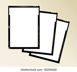 large format film sheet negative set 4 x 5 inch, blank picture frames, vector