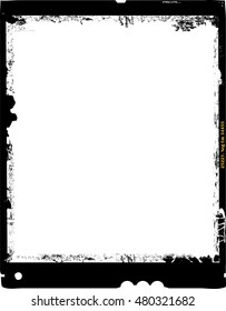 large format film sheet photo frame,with free copy space,grungy vector