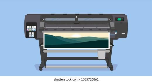 Large format full color latex printer plotter flat vector illustration