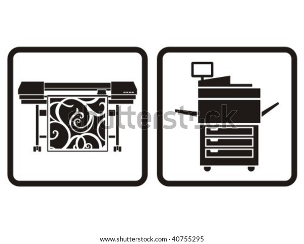 large format printer multifunction printer vector stock vector royalty free 40755295 https www shutterstock com image vector large format printer multifunction vector icons 40755295