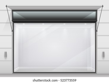 The large glass storefront or shopping center in a modern design. Vector graphics. Transparent glass