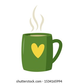 Large green mug with yellow heart and hot drink. Vector illustration.