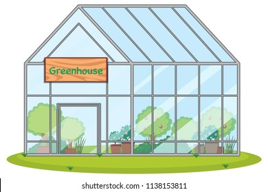 large greenhouse with plants illustration