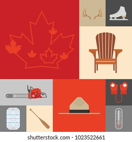 A large group of Canadian sterotype icons in vector format.