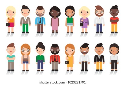 Large group of cute cartoon people all nationalities. Isolated on white background. Vector character design.