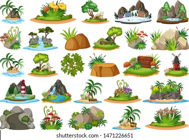 Large group of isolated objects theme - nature illustration