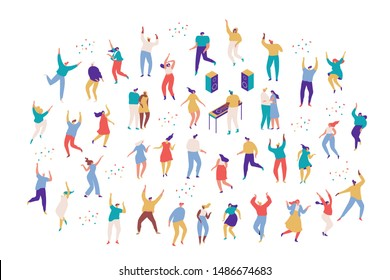 Large group of male and female cartoon characters having fun at party. Party people.  Crowd of young people  dancing at club or music concert. Flat colorful vector characters on white background.