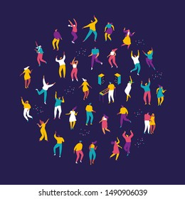 Large group of male and female cartoon characters having fun at party. Dancing people. Flat colorful vector charcters on dark background.Crowd of young people  dancing at club or music concert.