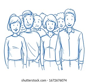 Large group of mixed people, clients or citizens, looking happy and satisfied. Hand drawn blue outline line art cartoon vector illustration.