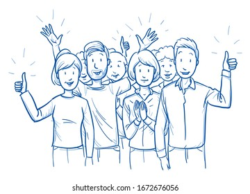 Large group of mixed people, looking happy and satisfied, cheering and clapping hands. Hand drawn blue outline line art cartoon vector illustration.