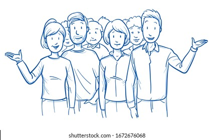 Large group of mixed people, looking happy and satisfied, talking or presenting something. Hand drawn blue outline line art cartoon vector illustration.