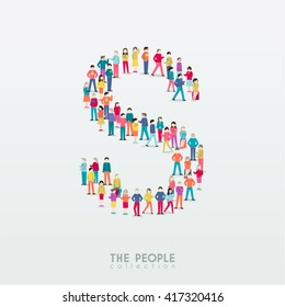 Large Group of People in Alphabet S Form Vector Design