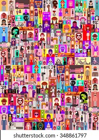 Large group of people. Art composition of abstract portraits - vector illustration.  Can be used as seamless background.