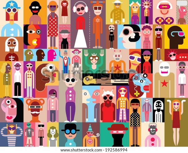 Large group of people. Art composition of abstract portraits - vector illustration. Can be used as seamless wallpaper.