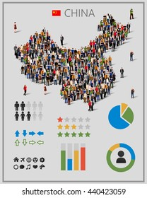 Large group of people in China map with infographics elements. China map with chart, statistic and visualization templates. Background for presentation. Vector illustration