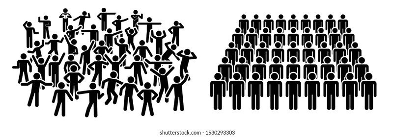 Large group of people. Concept of People Figure Pictogram Icons. Crowd signs. People standing in organized and disorganized groups.