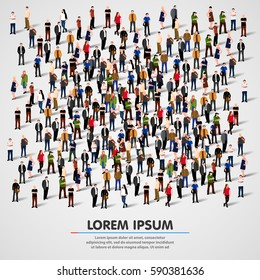 Large group of people crowded on white background. Vector illustration.