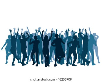 Large group of people dancing in a club.