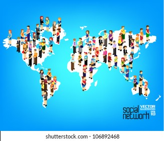 a large group of people from different country standing on map vector icon design