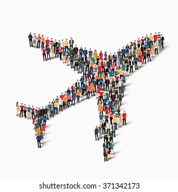A large group of people in the form of aircraft, transportation. Vector illustration