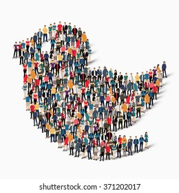 A large group of people in the form of bird. Vector illustration