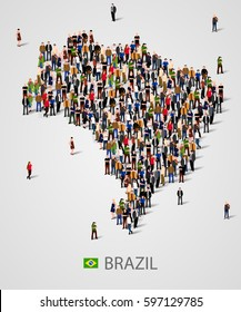 Large group of people in form of Brazil map. Background for presentation. Vector illustration