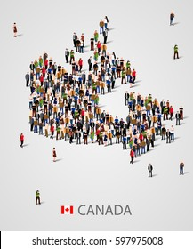 Large group of people in form of Canada map. Background for presentation. Vector illustration